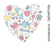 romantic hand drawn concept in... | Shutterstock .eps vector #360487436