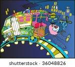 Night Tramway (hand drawn vector) - stock vector