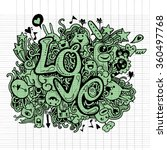 love hand lettering and doodles ... | Shutterstock .eps vector #360497768