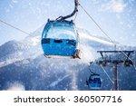 Blue Cable Car Lift At Ski...