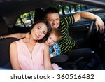family sitting in the car... | Shutterstock . vector #360516482