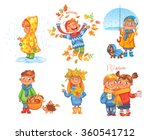 i love autumn. boy throws up... | Shutterstock .eps vector #360541712