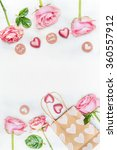 greeting card with pink roses   ... | Shutterstock . vector #360557912