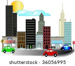 city illustrations with busy...   Shutterstock .eps vector #36056995