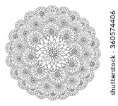 black and white circle floral... | Shutterstock .eps vector #360574406