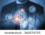 Abstract Concept of Men Trading Currency Using Touch Screen Features. Global Currency Trader Concept. Choosing US Dollars. Trading Decision. - stock photo