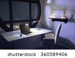 Laptop And Lamp On White Table...