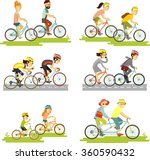 set of bicycle rider couple in... | Shutterstock .eps vector #360590432