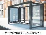 bus stop with a blank billboard ... | Shutterstock . vector #360604958