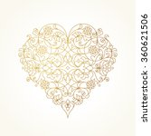 ornate vector heart in line art ... | Shutterstock .eps vector #360621506