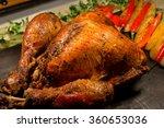 roast turkey on the table for... | Shutterstock . vector #360653036