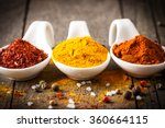 spices. spice in wooden spoon.... | Shutterstock . vector #360664115