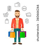 happy customer with bags. | Shutterstock .eps vector #360666266