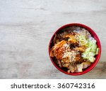 fried pork with sweet sauce on... | Shutterstock . vector #360742316