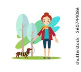 walking a dog. daily routine... | Shutterstock .eps vector #360744086