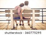 happy couple in love  in santa... | Shutterstock . vector #360775295