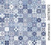 indigo floral patchwork tile... | Shutterstock .eps vector #360783872