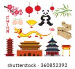 china objects set  travel... | Shutterstock .eps vector #360852392