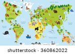 funny cartoon world map with... | Shutterstock .eps vector #360862022