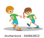 two boys involved in the relay. ...