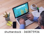man working on laptop with... | Shutterstock . vector #360875936