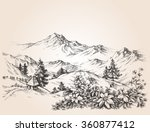 mountains landscape sketch | Shutterstock .eps vector #360877412