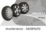 wheels of cars on the... | Shutterstock .eps vector #36089650