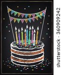 birthday cake with candle.... | Shutterstock .eps vector #360909242