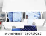 child clothes in wooden chest... | Shutterstock . vector #360919262