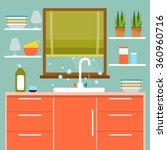 cozy kitchen with window  sink... | Shutterstock .eps vector #360960716