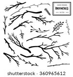 set of hand drawn branches. ink ... | Shutterstock .eps vector #360965612