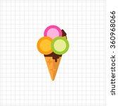 ice cream balls in waffle cone | Shutterstock .eps vector #360968066