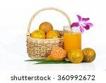 glass of orange juice with... | Shutterstock . vector #360992672
