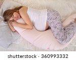 pregnant woman sleeping... | Shutterstock . vector #360993332