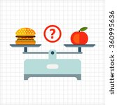Hamburger And Apple On Scales...