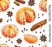 clementines with cinnamon and... | Shutterstock . vector #361001996