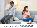 young couple with mobile phones ...   Shutterstock . vector #361010342