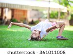 cheerful young girl going to do ... | Shutterstock . vector #361011008