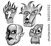 ugly and scary heads. grotesque ... | Shutterstock .eps vector #361011512