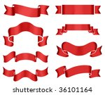 collection of 8 red banners on... | Shutterstock . vector #36101164