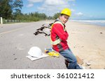 civil engineer check beach... | Shutterstock . vector #361021412