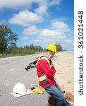 civil engineer check beach... | Shutterstock . vector #361021448