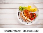 grilled chicken fillet and... | Shutterstock . vector #361038332