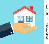 hand holding house illustration. | Shutterstock .eps vector #361048496