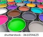 3d metallic pots of paint... | Shutterstock . vector #361054625