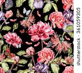 Stock photo watercolor pattern with beautiful butterflies and flowers iris poppies peonies 361059305