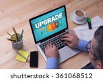 man working on laptop with... | Shutterstock . vector #361068512