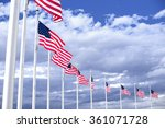 American Flags Winding On The...