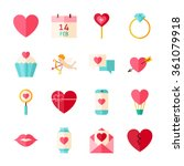 happy valentine day objects set ...