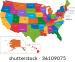 colorful usa map with states... | Shutterstock . vector #36109075